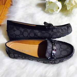 c236ac1ce48 Coach Shoes - Coach Smoke Black Olive Leather Loafers Flats